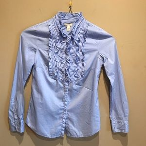 J Crew Ruffle Front Long Sleeve Button Down Size 0